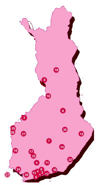 Vị trí các trường ĐH Ứng dụng tại Finland